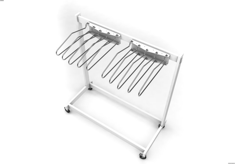 MR6 - 10 Arm Mobile Apron Rack