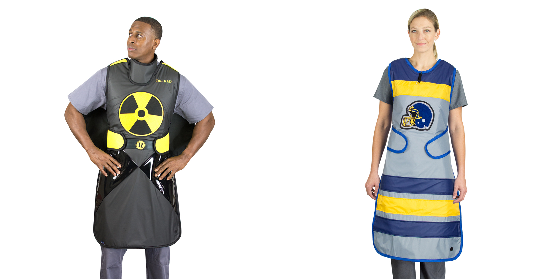 models wearing custom aprons