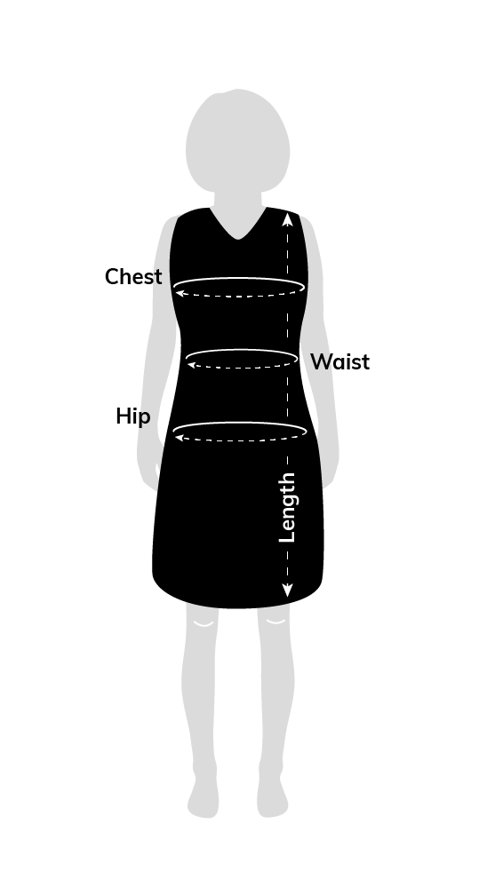 apron chest waist hip and length measurement diagram