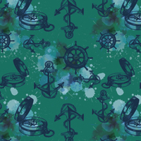 Aye Aye Captain - Dark Teal | Fabric #1223