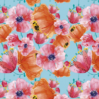 In Bloom - Bright Blue | Fabric #1201