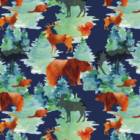 Into the Woods - Dark Blue | Fabric #1228