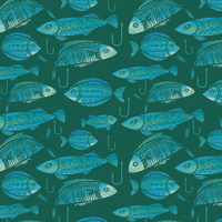 Take the Bait - Dark Teal | Fabric #1230